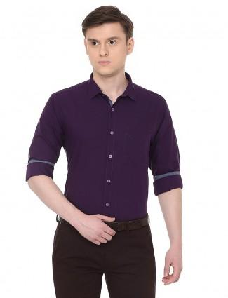Allen Solly slim fit purple cotton shirt