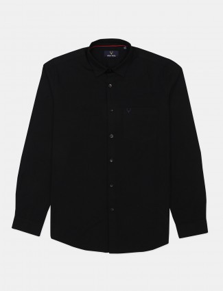 Allen Solly solid black tint cotton casual shirt