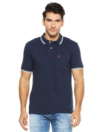 Allen Solly solid navy patch pocket t-shirt