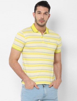 Allen Solly yellow stripe polo t-shirt