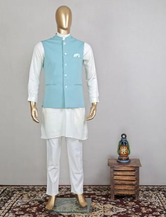 Alluring aqua and white hue wedding wear waistcoat set