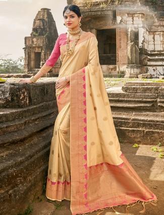 Alluring Beige banarasi silk wedding wear saree