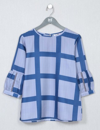 Alluring blue cotton casual wear top