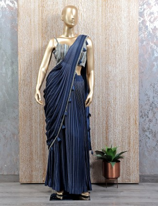 Alluring blue shade ready to wear saree with readymade blouse