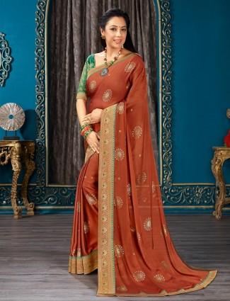 Alluring brown chiffon festive wear saree