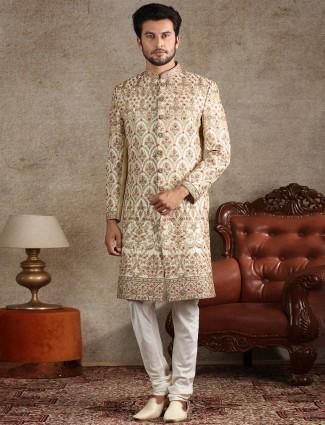 Alluring cream sherwani in raw silk