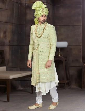 Alluring green double layer designer sherwani in georgette