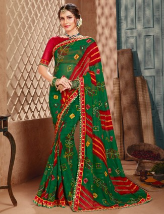 Alluring green festive wear georgette saree