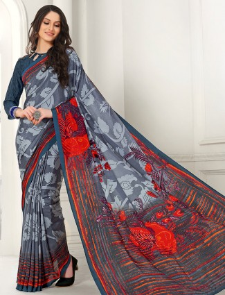 Alluring grey crepe royal saree