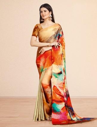 Alluring mustard festive wear crepe saree