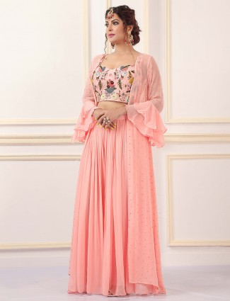 Alluring peach shade jacket with palazzo suit