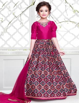 Alluring pink hue patola lehenga choli in cottn silk