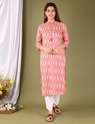 Alluring pink printed cotton women kurti