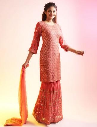 Alluring pink punjabi style festive wear salwar suit