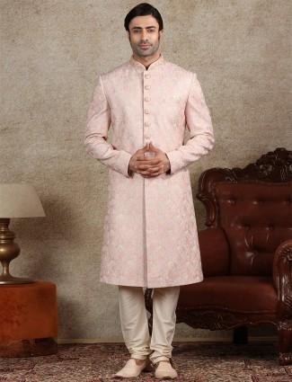 Alluring pink sherwani in silk
