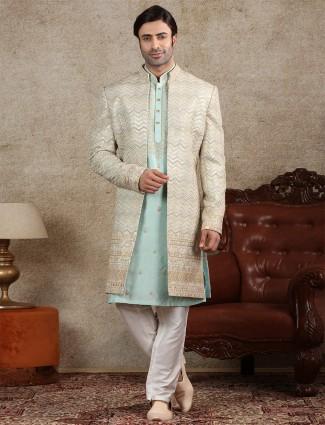 Alluring pista green sherwani for wedding