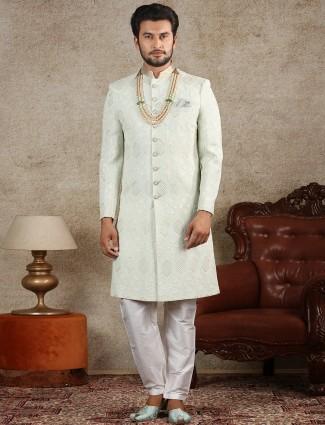 Alluring pista green sherwani in raw silk