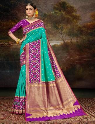 Alluring purple wedding session saree in patola silk