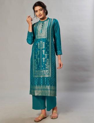 Alluring rama green hue silk palazzo suit in punjabi style