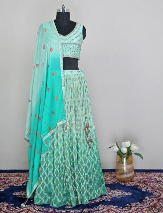 Alluring reception wear sea green lehenga