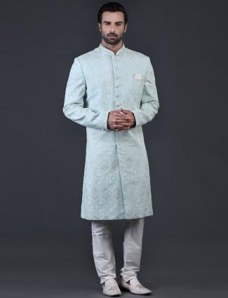 Alluring sky blue chikan sherwani for wedding
