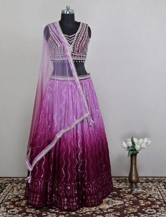 Alluring wedding ceremonies wine purple hue lehenga choli