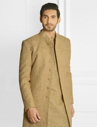 Alluring wedding wear golden shade indowestern sherwani
