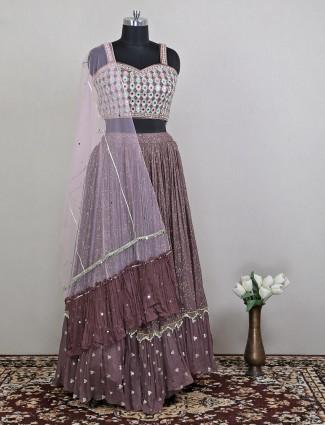 Alluring wedding wear grey hue lehenga choli