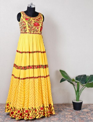 Alluring wedding wear yellow anarkali suit