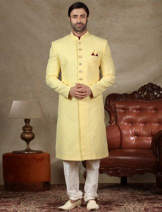 Alluring yellow sherwani in silk