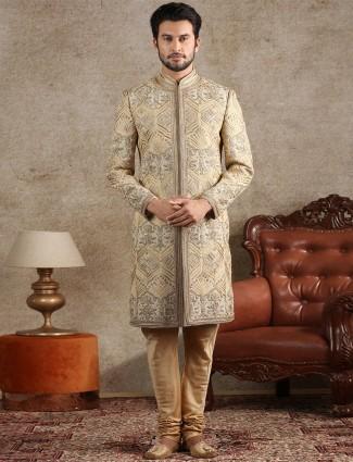 Amazing beige raw silk sherwani for wedding