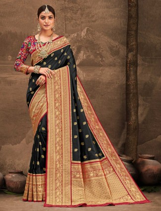 Amazing black banarasi silk wedding wear saree
