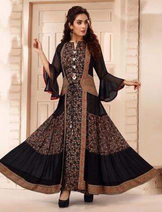 Amazing black georgette printed designer kurti