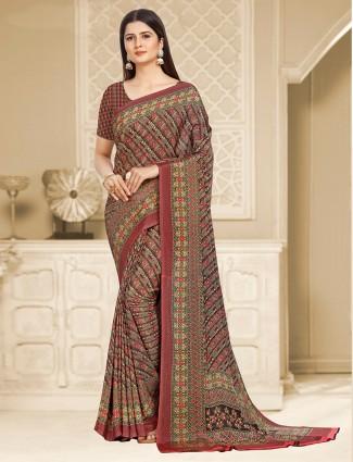 Amazing maroon printed crepe saree