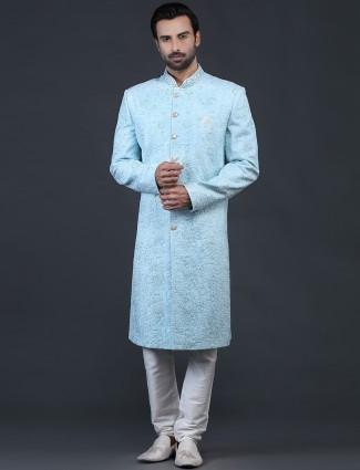 Amazing blue net sherwani for wedding