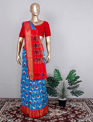 Amazing blue patola silk saree for wedding