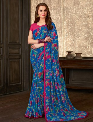 Amazing blue printed georgette saree for festive