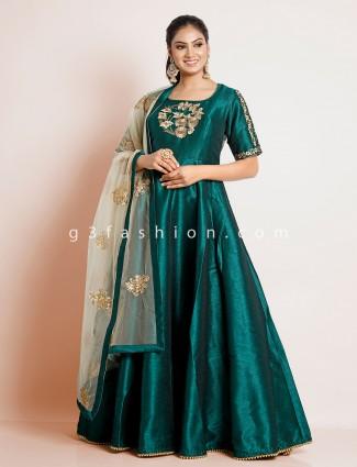 Amazing bottle green designer cotton silk wedding anarkali suit