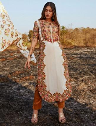 Amazing cream cotton punjabi style salwar suit