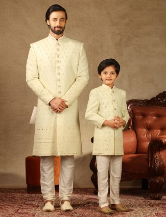 Amazing cream georgette sherwani for father and son