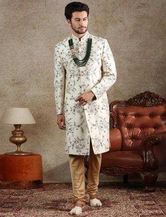 Amazing cream raw silk sherwani for groom