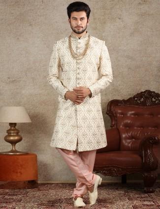 Amazing cream raw silk sherwani special for wedding