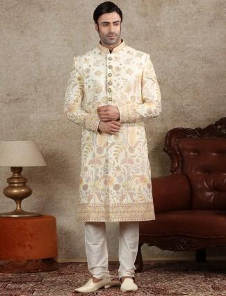 Amazing cream silk sherwani for wedding