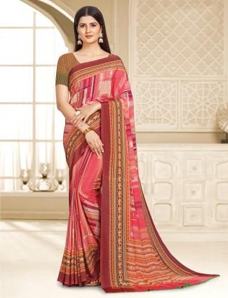 Amazing crepe pink printed saree
