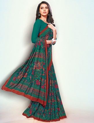 Amazing georgette sea green printed saree
