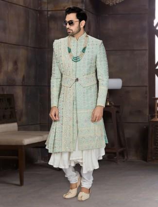 Amazing green double layer georgette sherwani for wedding