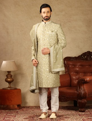 Amazing green raw silk sherwani for wedding