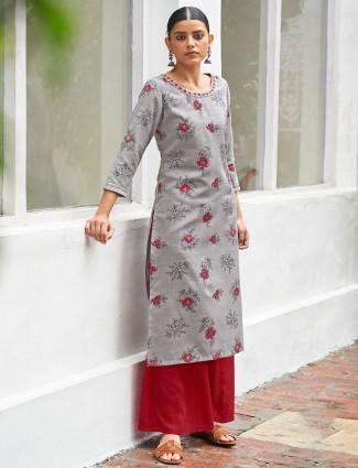 Amazing grey casual wear womens printed kurti