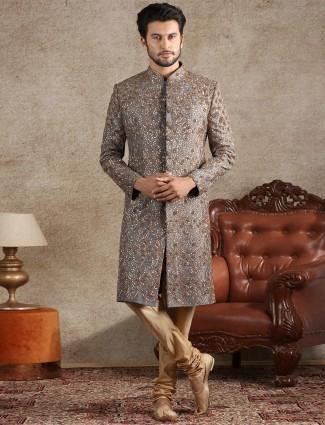 Amazing grey raw silk sherwani for wedding