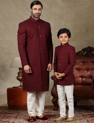 Amazing maroon silk matching sherwani for father and son